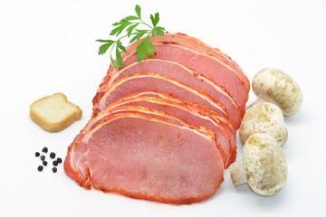 raw steaks marinated pork loin isolated in white