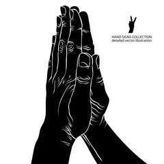 Praying hands, detailed black and white vector illustration.