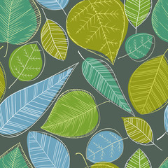 Beautiful spring leaves on dark background, seamless pattern.