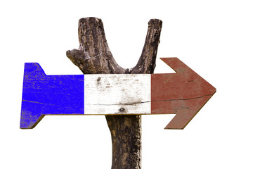 France wooden sign isolated on white background