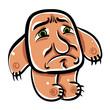 Sad cartoon monster, vector illustration.