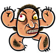 Wierd cartoon monster, absolute crazy numskull portrait