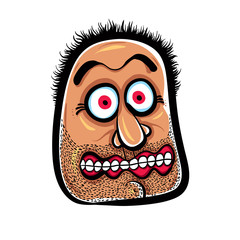 Shocked cartoon face with stubble, vector illustration.