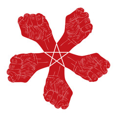 Five fists abstract symbol with five point star, red