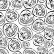 Funny faces seamless background, black and white lines vector