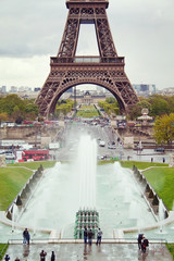 View on the Eiffel Tower and working fountains of Trocadero.