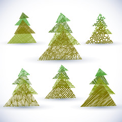 Christmass tree vector set.