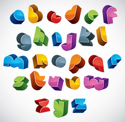 3d futuristic font, vector bright and colorful letters.