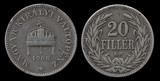 Twenty Hungarian fillers coin of 1908 year poster