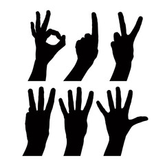 Numbers hand signs set, detailed black and white vector signs