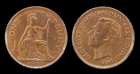 Used Old Coin, One Penny - 1938, British Coins and Currency