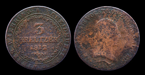 Three Austrian kreutzers coin