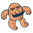 Funny cartoon monster with mustaches, vector illustration.