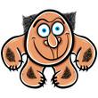 Foolish cartoon monster, vector illustration.