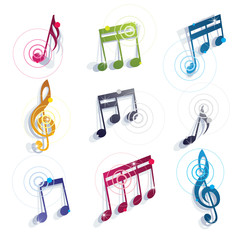 Musical notes icons set.