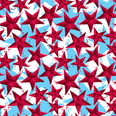 Red stars seamless pattern, geometric contemporary style