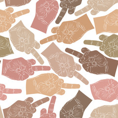 Middle finger hands seamless pattern, vector background