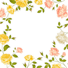 Floral frame perfect for wedding invitations.