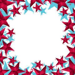 Stars border, contemporary geometric style, vector