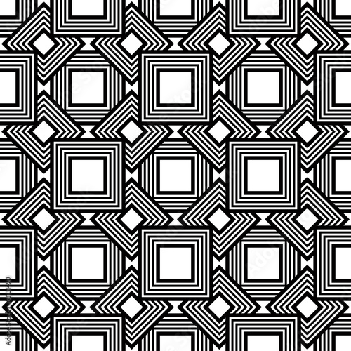 Seamless black and white pattern, vector stripes