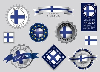 Made in Finland Seal, Finnish flag (vector Art)