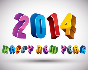 2014 Happy New Year card with phrase, 3d retro