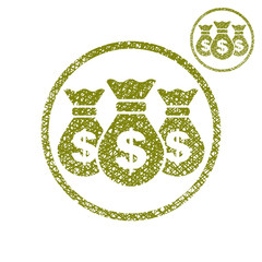 Three money bag vector simple single color icon