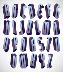 3d tall and thin font, dimensional alphabet.