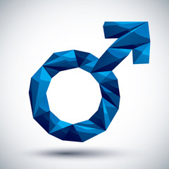 Blue male sign geometric icon, 3d modern style