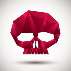 Red scull geometric icon made in 3d modern style