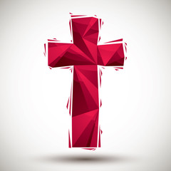 Red cross geometric icon, 3d modern style
