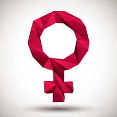 Red female sign geometric icon,  3d modern style