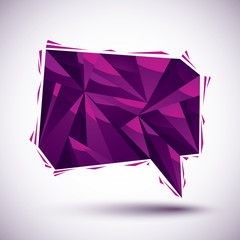 Violet speech bubble geometric icon, 3d style