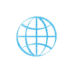 Earth simplistic vector icon with hand drawn lines