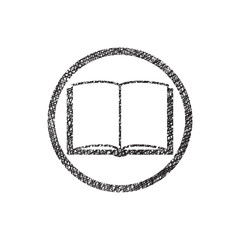 Open book vector icon with hand drawn lines texture.