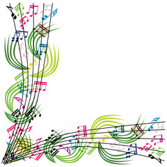 Music notes composition, stylish musical theme