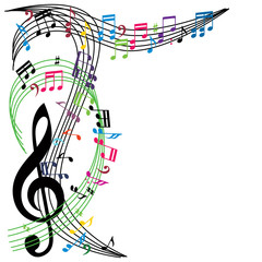 Music notes background, stylish musical theme