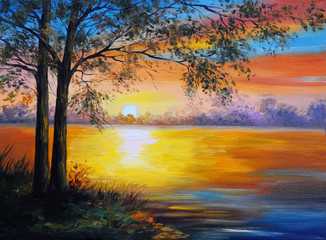 oil painting landscape - tree near the lake