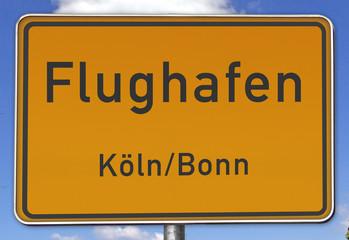 Ortsschild Flughafen Köln/Bonn