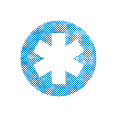 Emergency ambulance vector symbol, pixel print dot