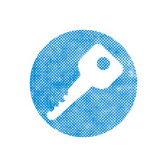 Vector Key Icon with pixel print halftone dots texture.