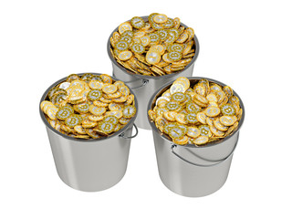 Bitcoins in a Bucket - isolated on white
