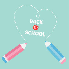 Two pencils drawing dash hearton blue Back to school card. Flat