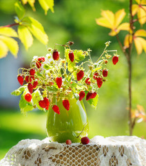 Wild strawberries bunch with flowers
