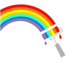 Rainbow cloud and paint roller drops. Dash line. Isolated