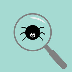 Spider insect under magnifier zoom lense. Flat design.