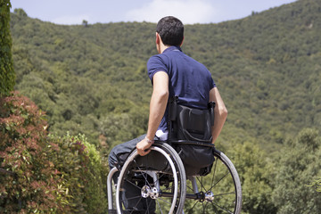 Man in wheelchair in Mountain
