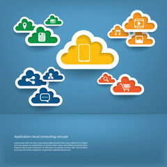 Cloud computing application concept with icons