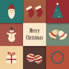Simple vintage Christmas icons