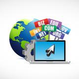 web domains signs international concept